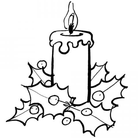 Imagen de vela de navidad para colorear for Dibujos adornos navidad