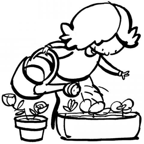 Dibujo de niña regando las plantas para imprimir y colorear
