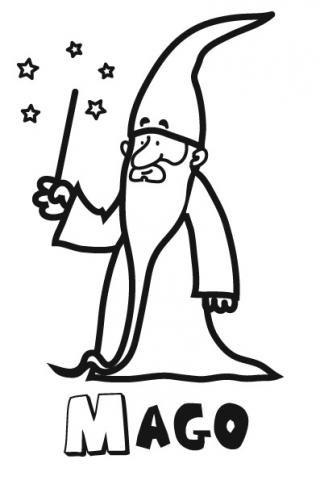 Dibujo de un mago para imprimir y colorear. Dibujos de fantasía