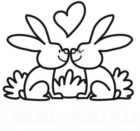 Dibujos infantiles de conejos en primavera para imprimir y ...
