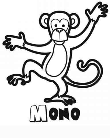 Dibujo de un mono para colorear. Imágenes de animales