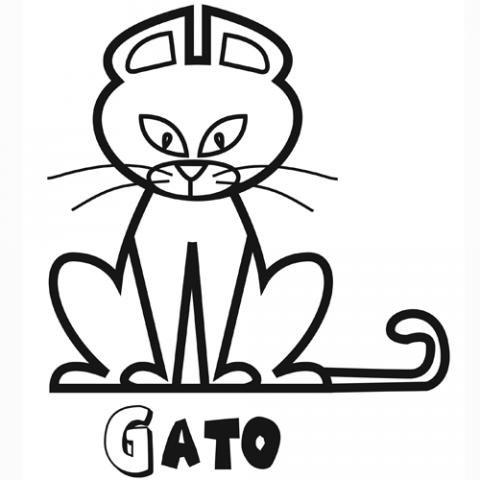 Dibujo de un gato para imprimir y pintar gratis. Dibujos de animales