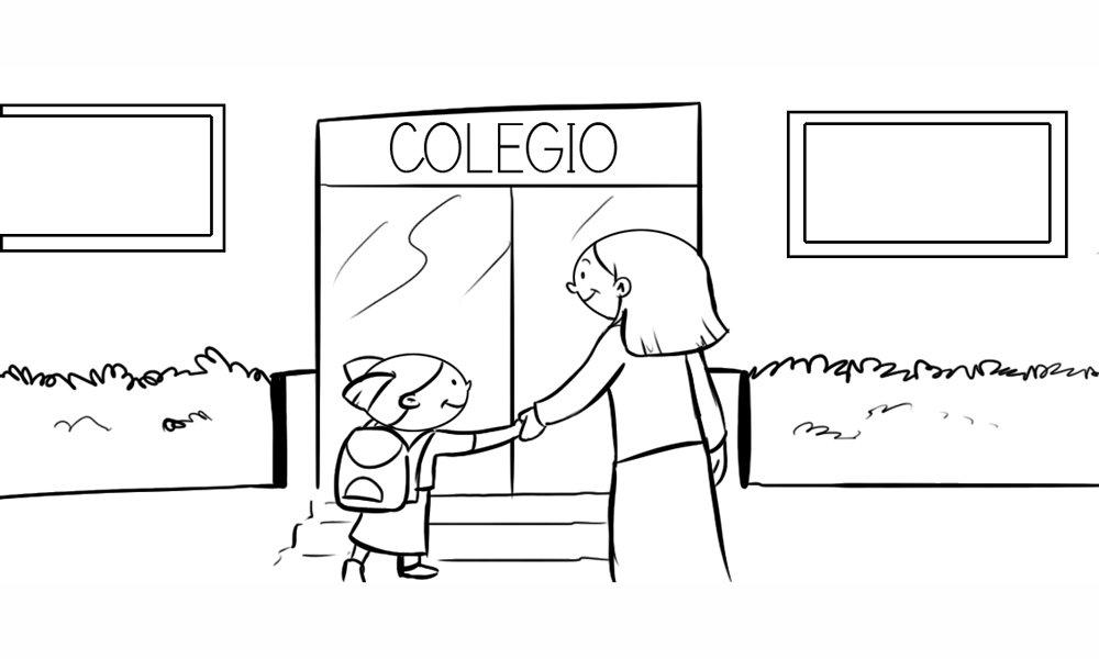 Dibujo para colorear de una niña entrando al colegio con su madre