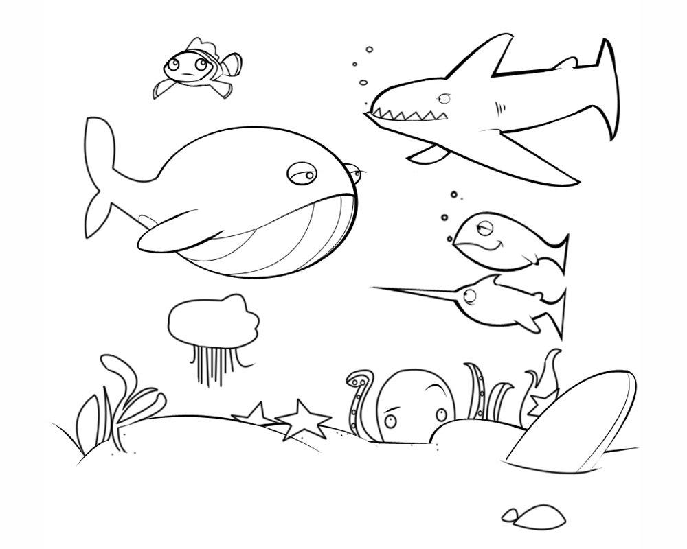 Dibujos de animales marinos para colorear. Fondo marino para pintar