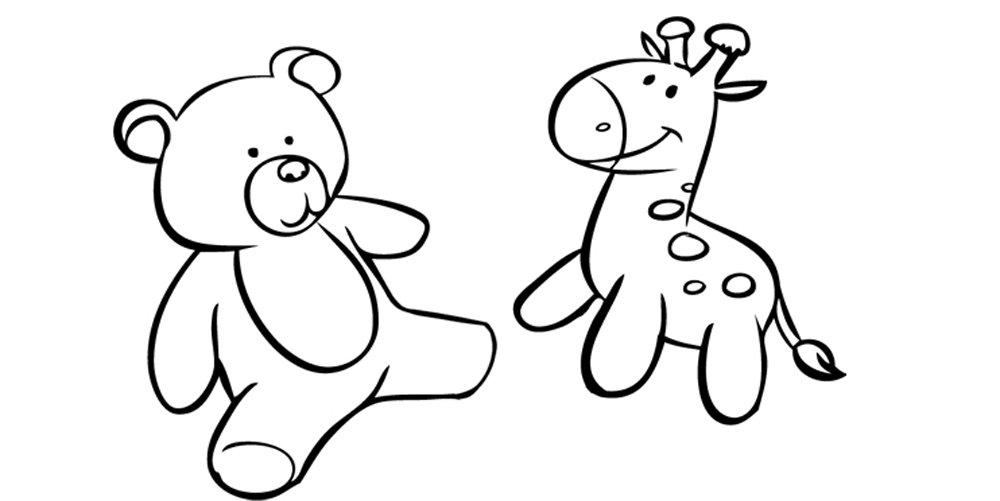 Animales de peluche: Dibujos para colorear