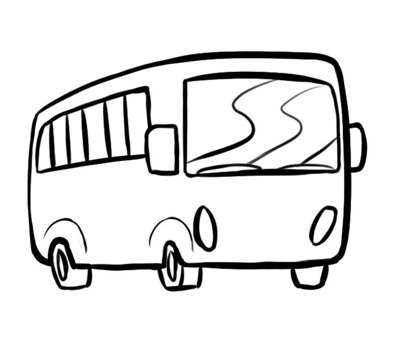 Dibujo para colorear con los niños de un autocar
