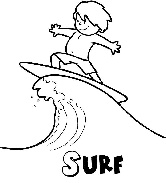 Surf en verano: Dibujos para colorear