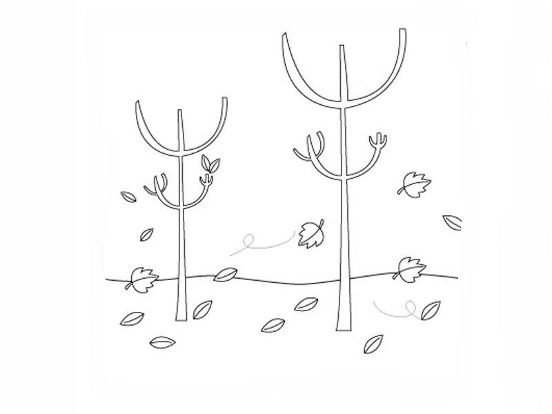 Dibujos de árboles en otoño para imprimir y colorear