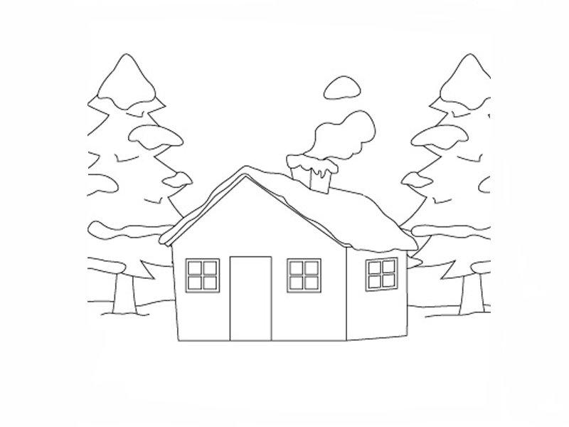 Dibujos De Casas Para Colorear Para Ninos: Cabaña Nevada Para Que Los Niños Pinten. Dibujos De Casas