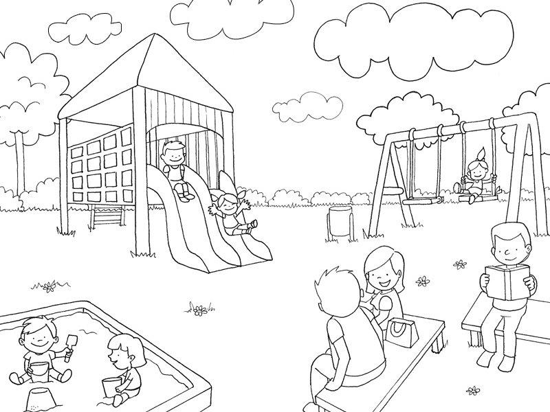 Parque en primavera: Dibujos para colorear