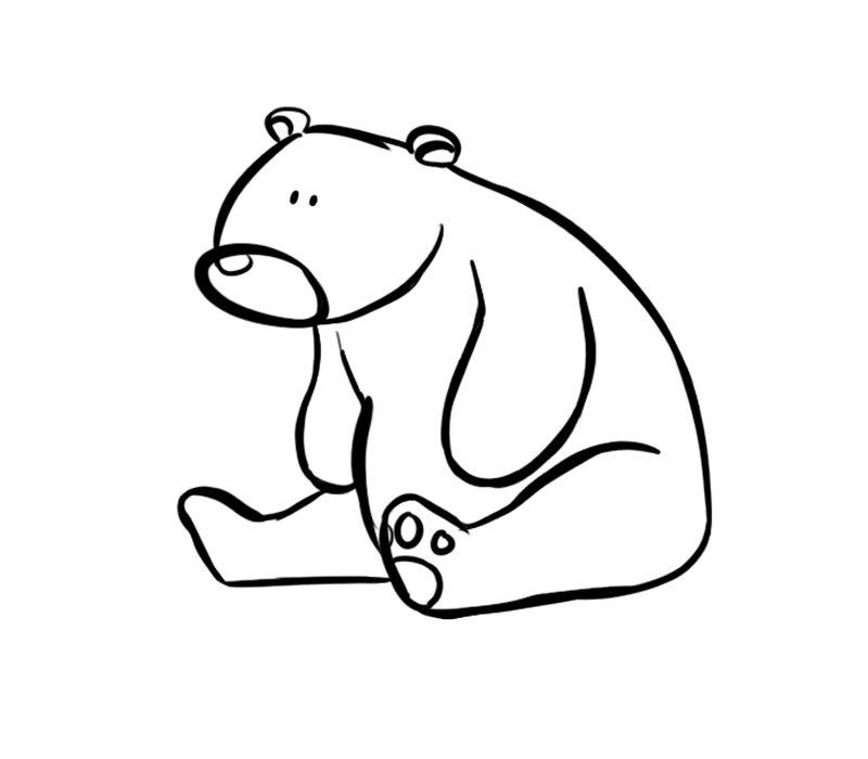 Oso sentado: Dibujos para colorear
