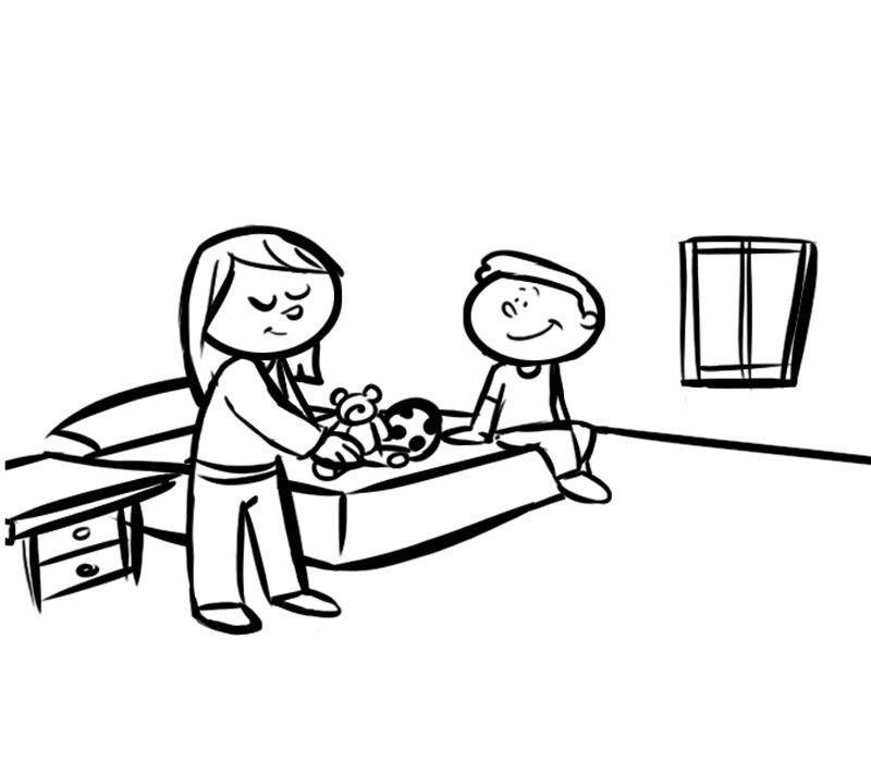 Ni o y madre en la habitaci n - Dibujos para habitacion nina ...