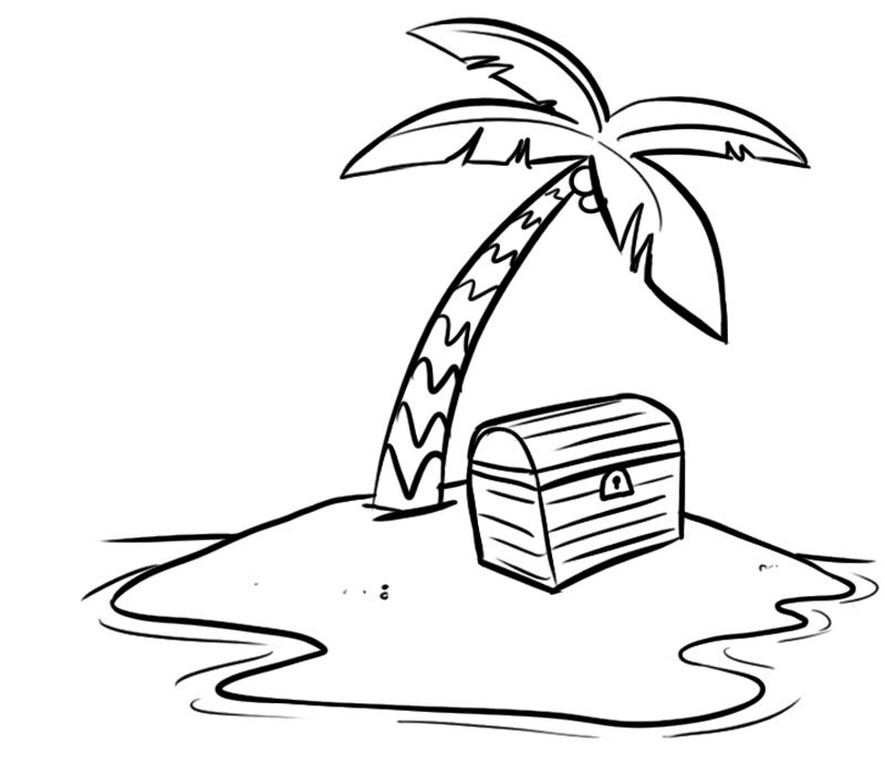 Dibujo de la Isla del tesoro para imprimir y colorear. Dibujos de ...