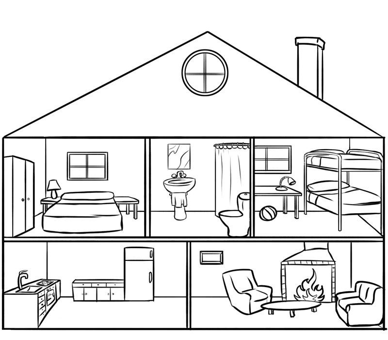 dibujo de casa por dentro para pintar y colorear en lnea hawaii
