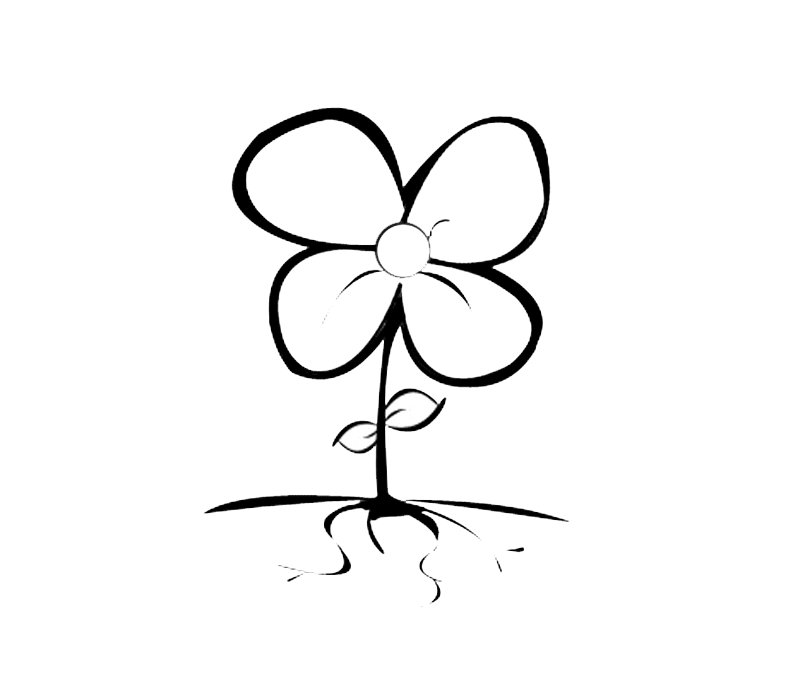 Dibujos de flor de cuatro pétalos para colorear por los niños