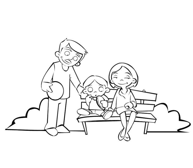 Dibujo de familia en el parque para colorear con los niños