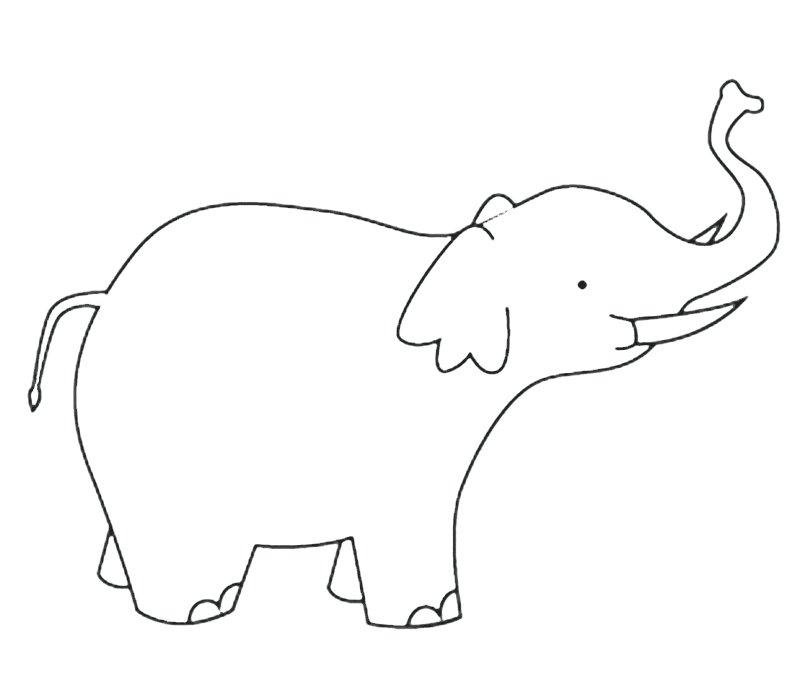 Imprimir: Elefante con colmillos: Dibujos para colorear