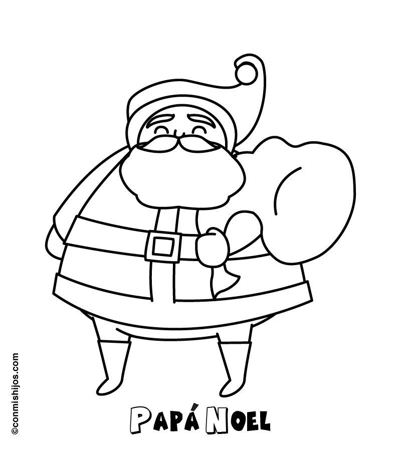 Papá Noel en Navidad. Dibujo para niños