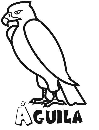 Dibujo infantil de un águila para que los niños pinten