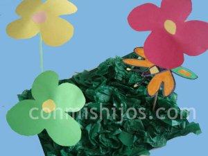 Jardín de primavera. Manualidades de recortar para niños