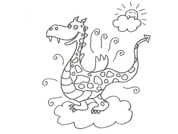 Dibujo de un dragón de cuento para colorear con los niños