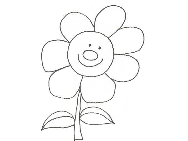 Dibujo de una flor sonriente para pintar con niños