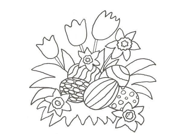 Dibujo de flores y huevos de Pascua para colorear con niños