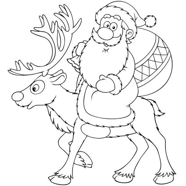 Dibujo de pap noel en su reno para colorear for Dibujos de renos en navidad
