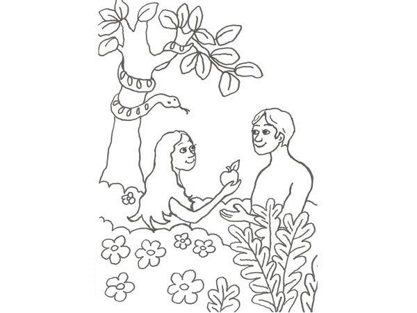 Dibujo de Adán y Eva para pintar con niños