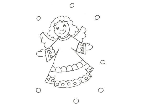 Dibujo de un ngel de navidad para colorear con los ni os for Dibujos sencillos de navidad