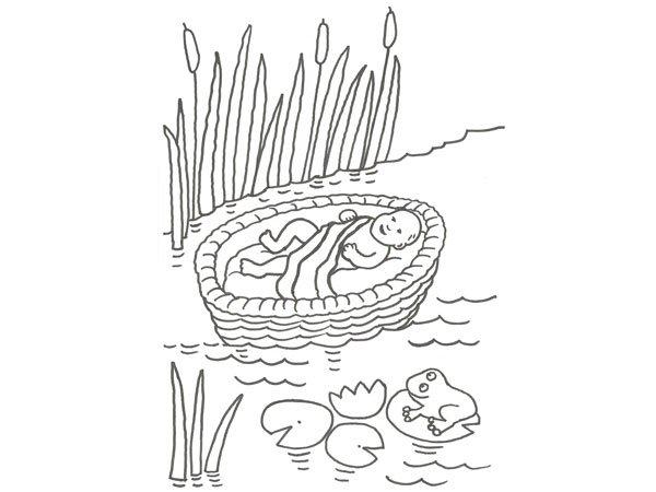 Dibujo de Moisés para colorear con los niños