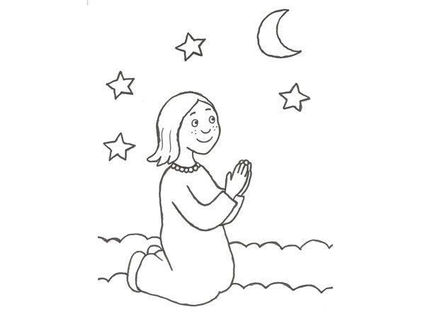 Dibujo infantil de una niña rezando para colorear