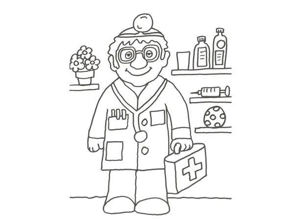 Dibujo de un médico para colorear con los niños