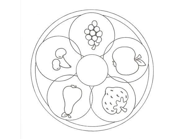 Dibujo educativo de frutas para colorear con niños