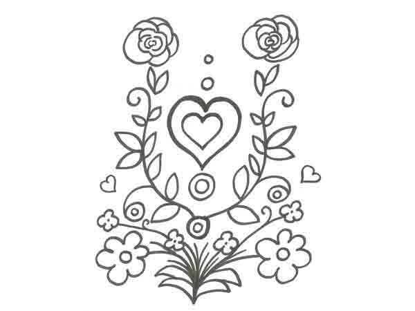 Dibujo de un corazón y flores para pintar con niños