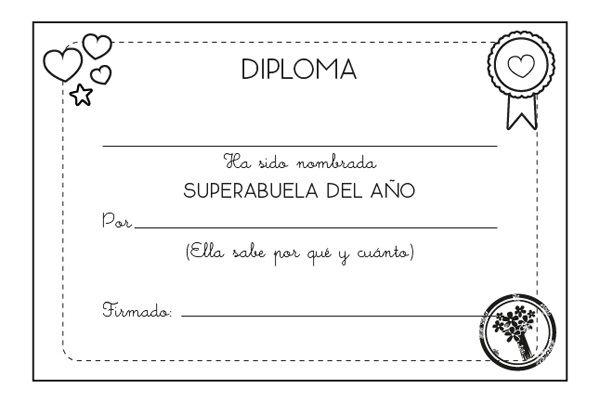 Colorear Abuela Leyendo La Revista Popi A Su Nieto: Diploma A La Mejor Abuela: Dibujo Para Colorear E Imprimir