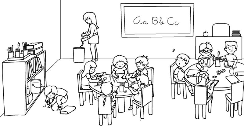 Dibujos de la escuela y el colegio para colorear y pintar - Ninos en clase dibujo ...