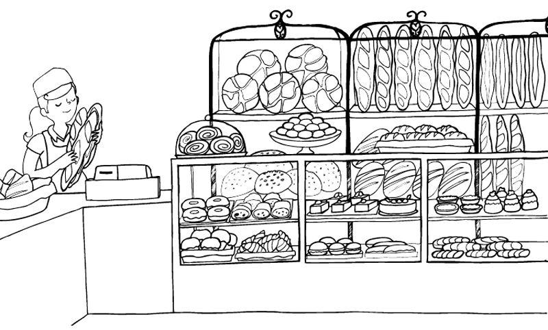 Panadería: dibujo para colorear e imprimir