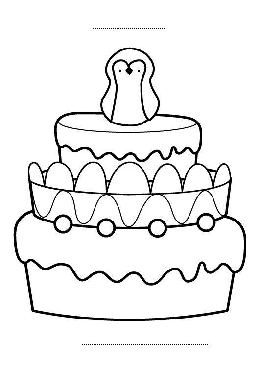 Tarta de cumpleaños 8 años: dibujo para colorear e imprimir