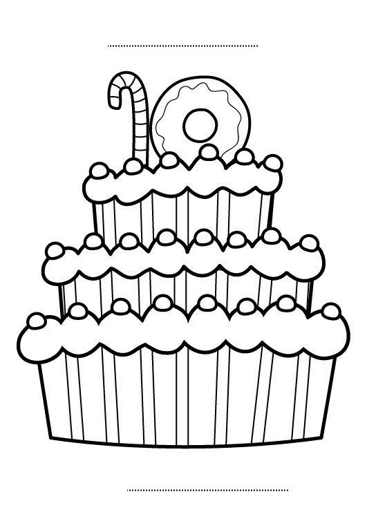 Tarta de cumpleaños 10 años: dibujo para colorear e imprimir