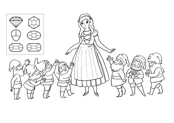 Blancanieves: dibujo para colorear e imprimir