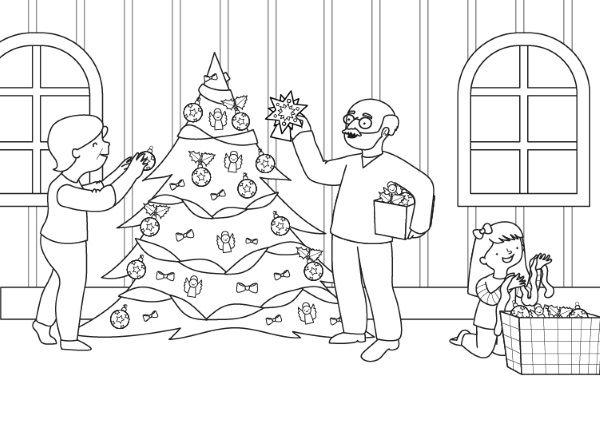 El árbol de Navidad de los abuelos: dibujo para colorear e imprimir