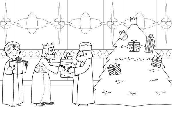 Árbol de Navidad y Reyes Magos: dibujo para colorear e imprimir