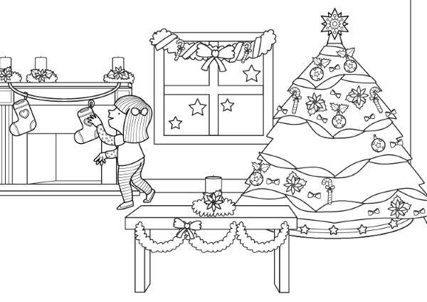 Decoraci n de navidad dibujo para colorear e imprimir - Como decorar un dibujo de navidad ...