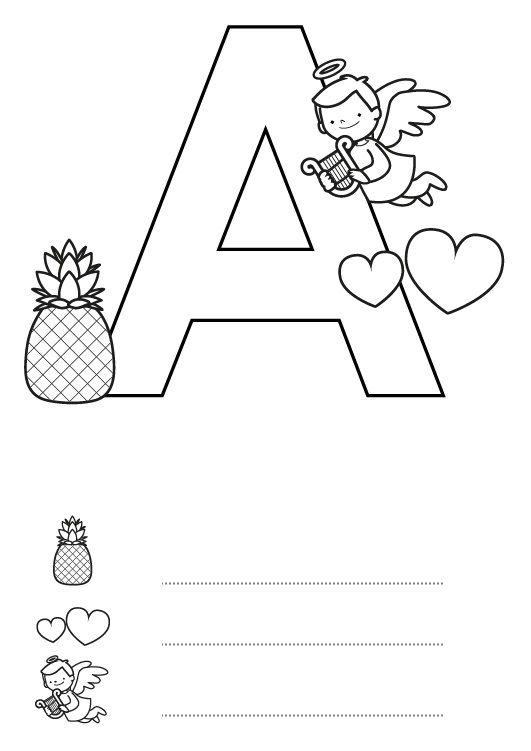 Letra a dibujo para colorear e imprimir - Literas divertidas para ninos ...