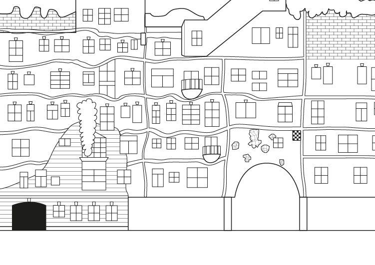 Casa hundertwasserde dibujo para colorear e imprimir for Fotos de casas modernas para imprimir