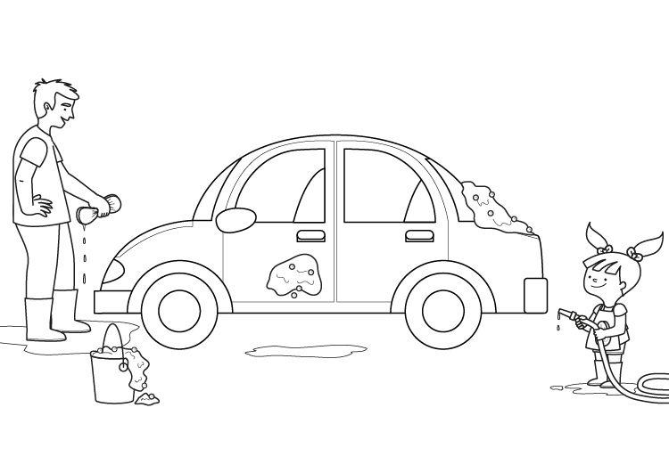 Lavado de coche: dibujo para colorear e imprimir