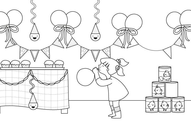 Fiesta de cumplea os dibujo para colorear e imprimir - Fiesta de cumpleanos en casa para ninos ...