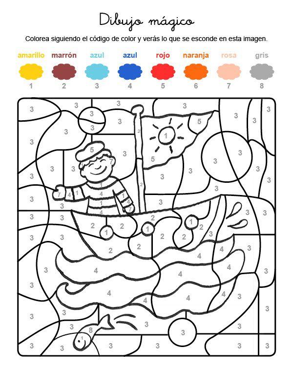 Dibujo mágico de un marinero en su barco: dibujo para ...
