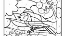 Dibujo mágico de un pájaro cantando: dibujo para colorear e imprimir